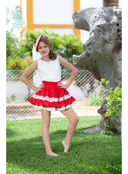 Conjunto falda rojo Abuela tata