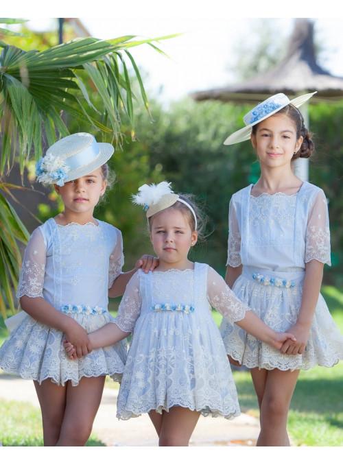 Conjunto falda tul bordado celes -beig abuela tata