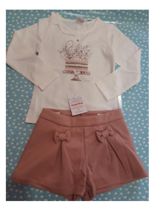 Conjunto camiseta y pantalon corto rosa empolvado